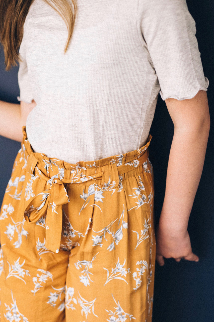 Mustard Floral Pants with Waist Tie | ROOLEE Kids