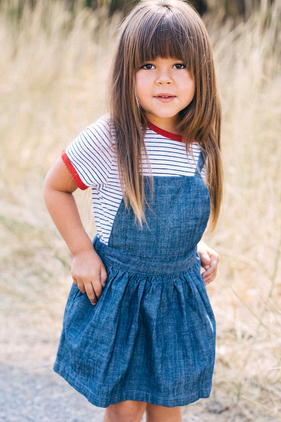 Denim Overall Jumper Dress For Little Girls | ROOLEE Kids