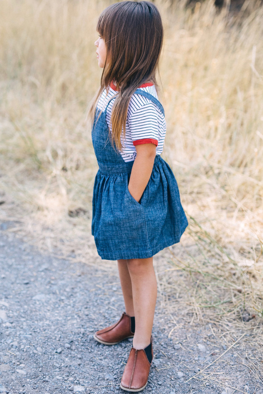 Blue Chambray Overalls Outfit For Girls | ROOLEE Kids