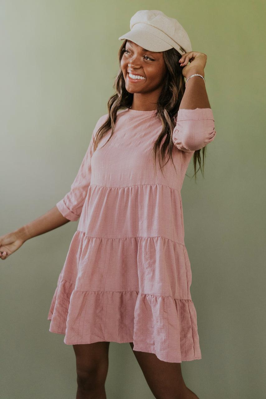 Tiered Pink Babydoll Dress | ROOLEE