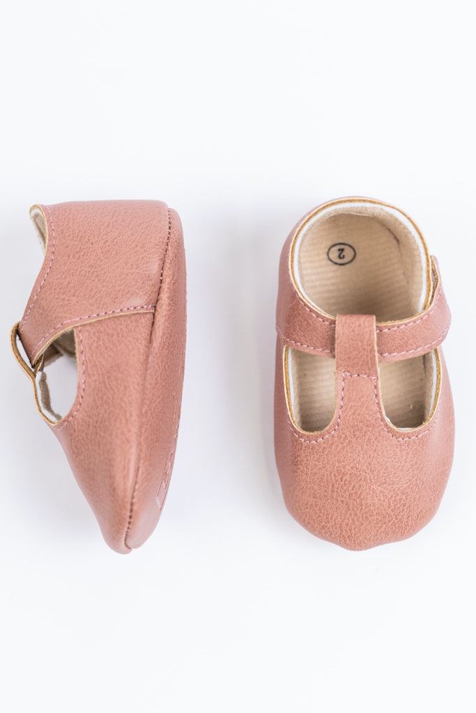 Pink Leather Baby Shoes | ROOLEE
