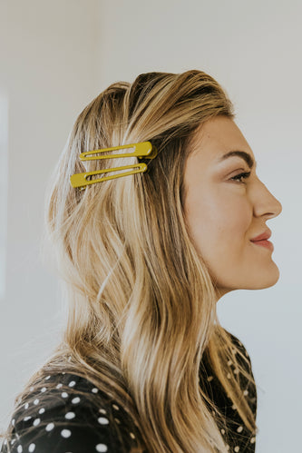 Yellow teardrop open hair trendy barrettes | ROOLEE