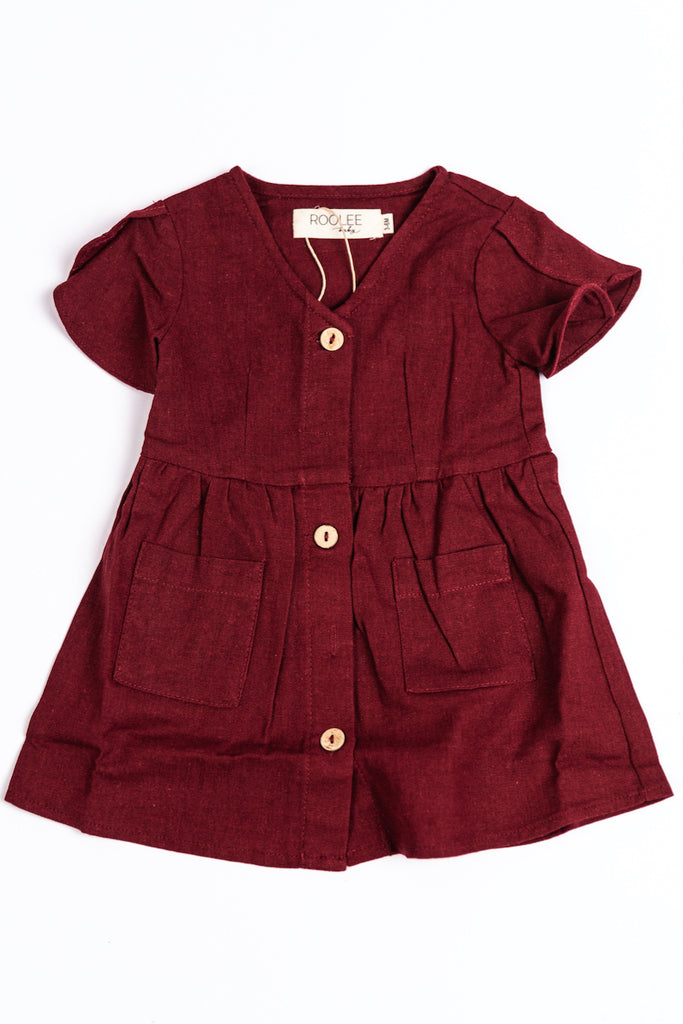 Brick Maroon Button Up Dress for Holidays | ROOLEE