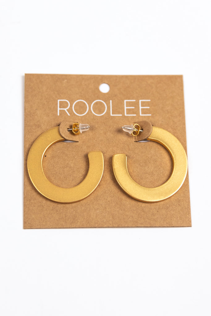 Everyday Gold Flat Hoop Earrings | ROOLEE