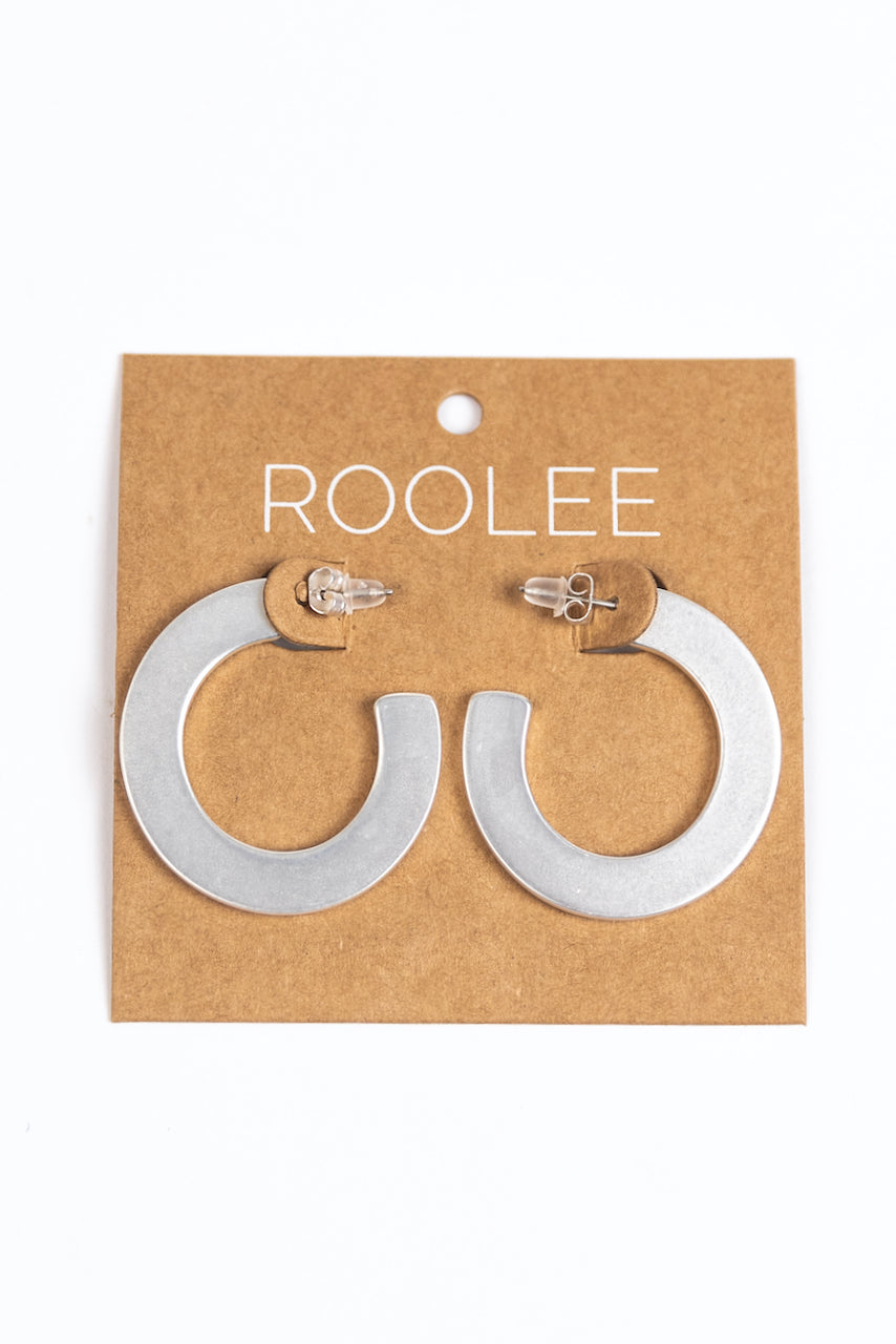 Silver Flat Earrings | ROOLEE