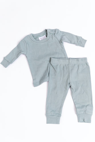 Cotton Sea Green Pajama Set for Babies | ROOLEE