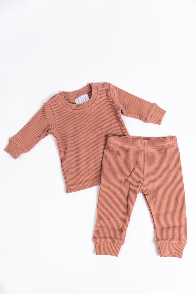 Pink Ribbed Cozy Top and Bottom Set for Babies | ROOLEE