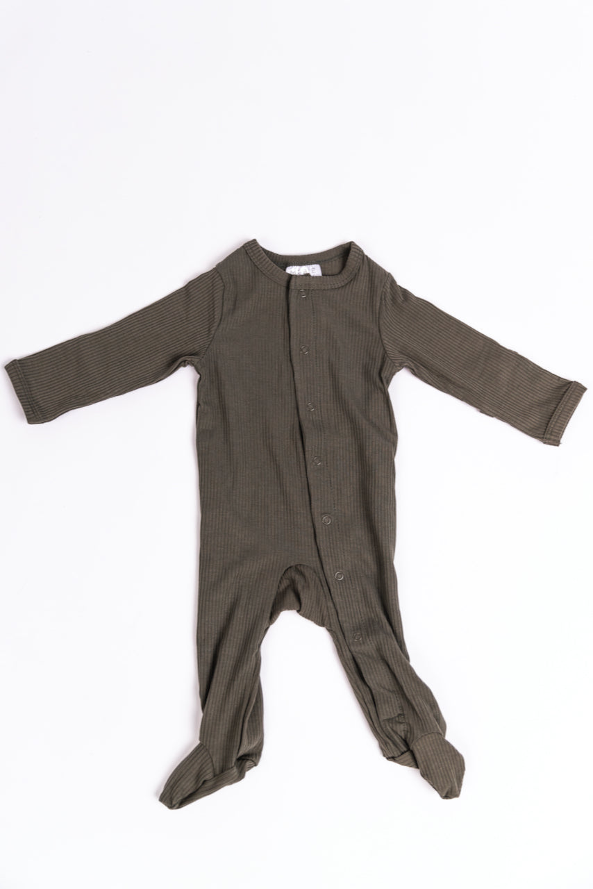 Warm Grey Baby Onesie With Snaps | ROOLEE