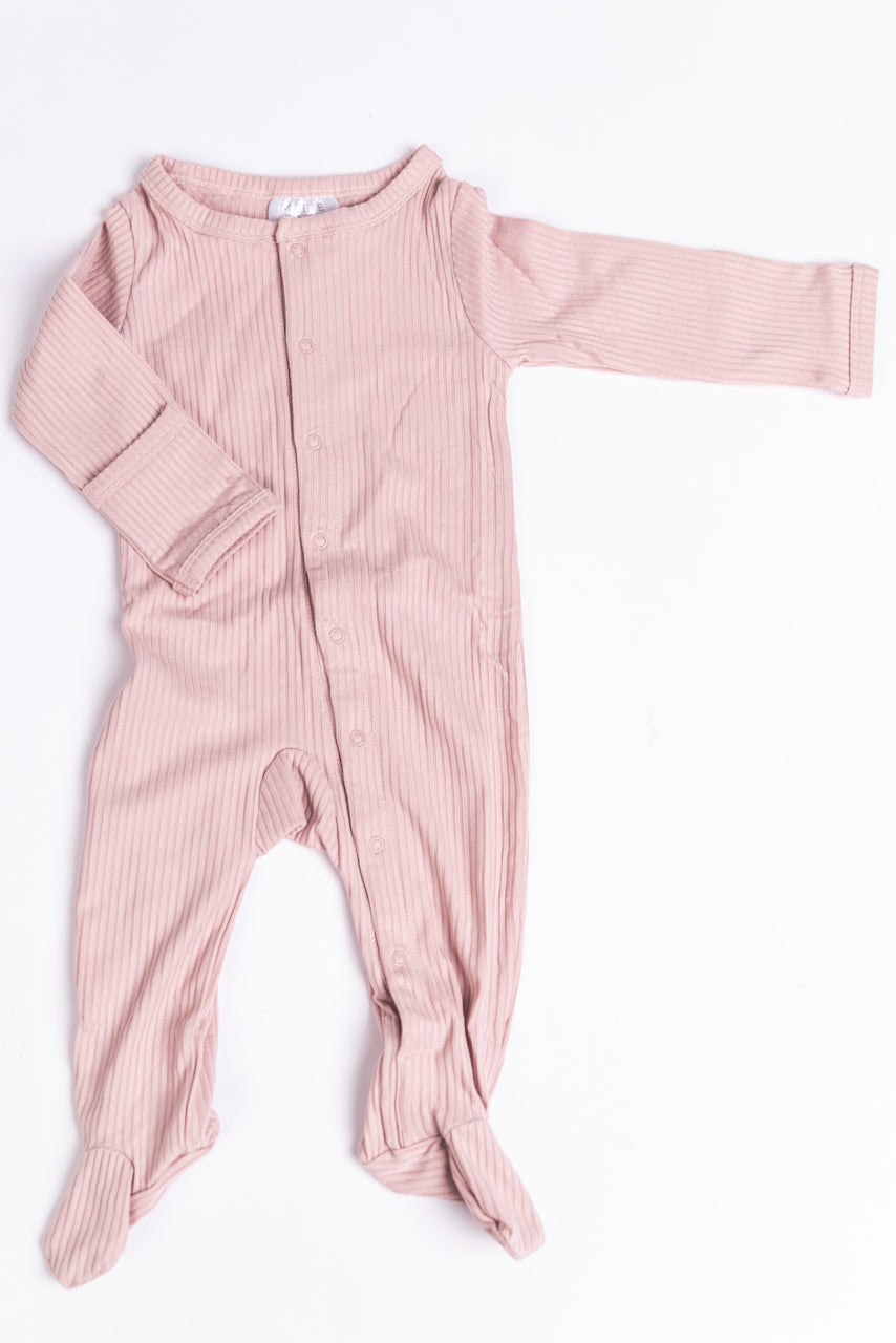 Pearl Pink Baby Onesie with Snaps | ROOLEE