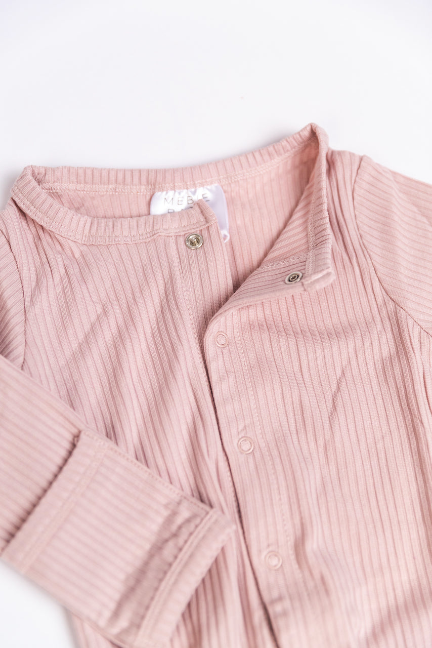 Soft Pink Ribbed Baby Onesies Modern | ROOLEE