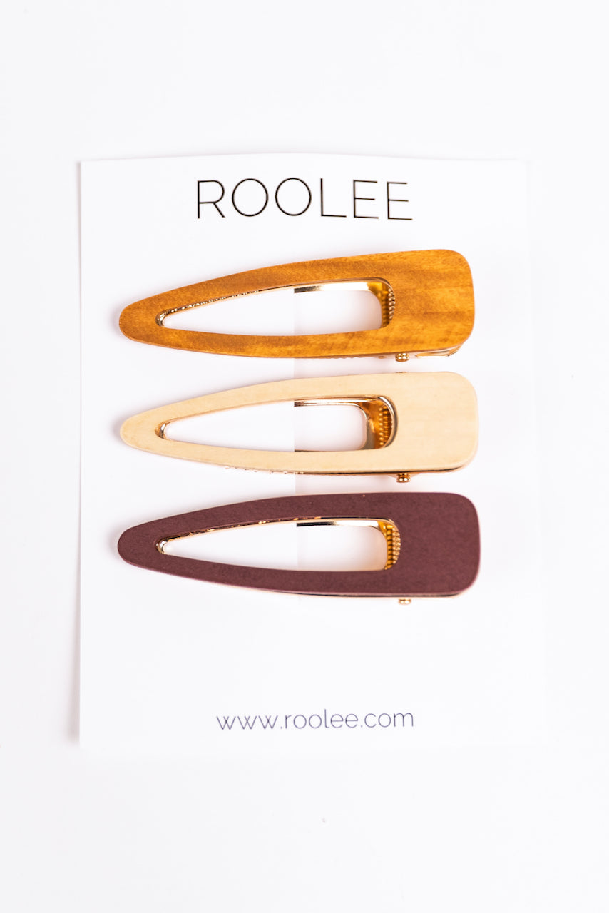 Wooden Teardrop Clips for Hair | ROOLEE