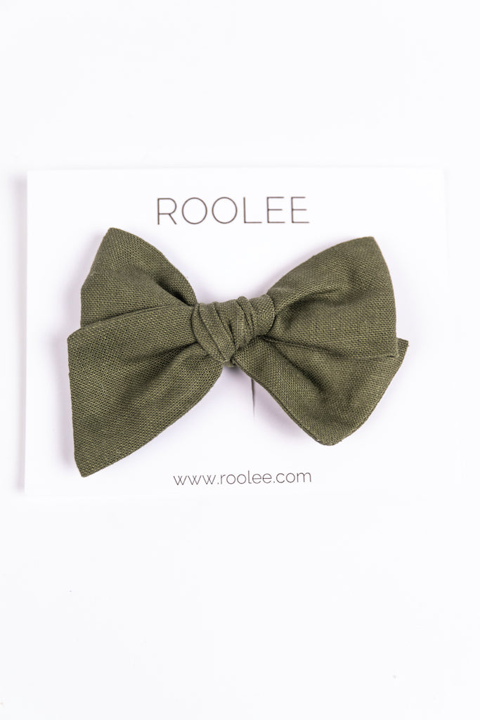 Green Hand Tied Hair Bow for Girls | ROOLEE