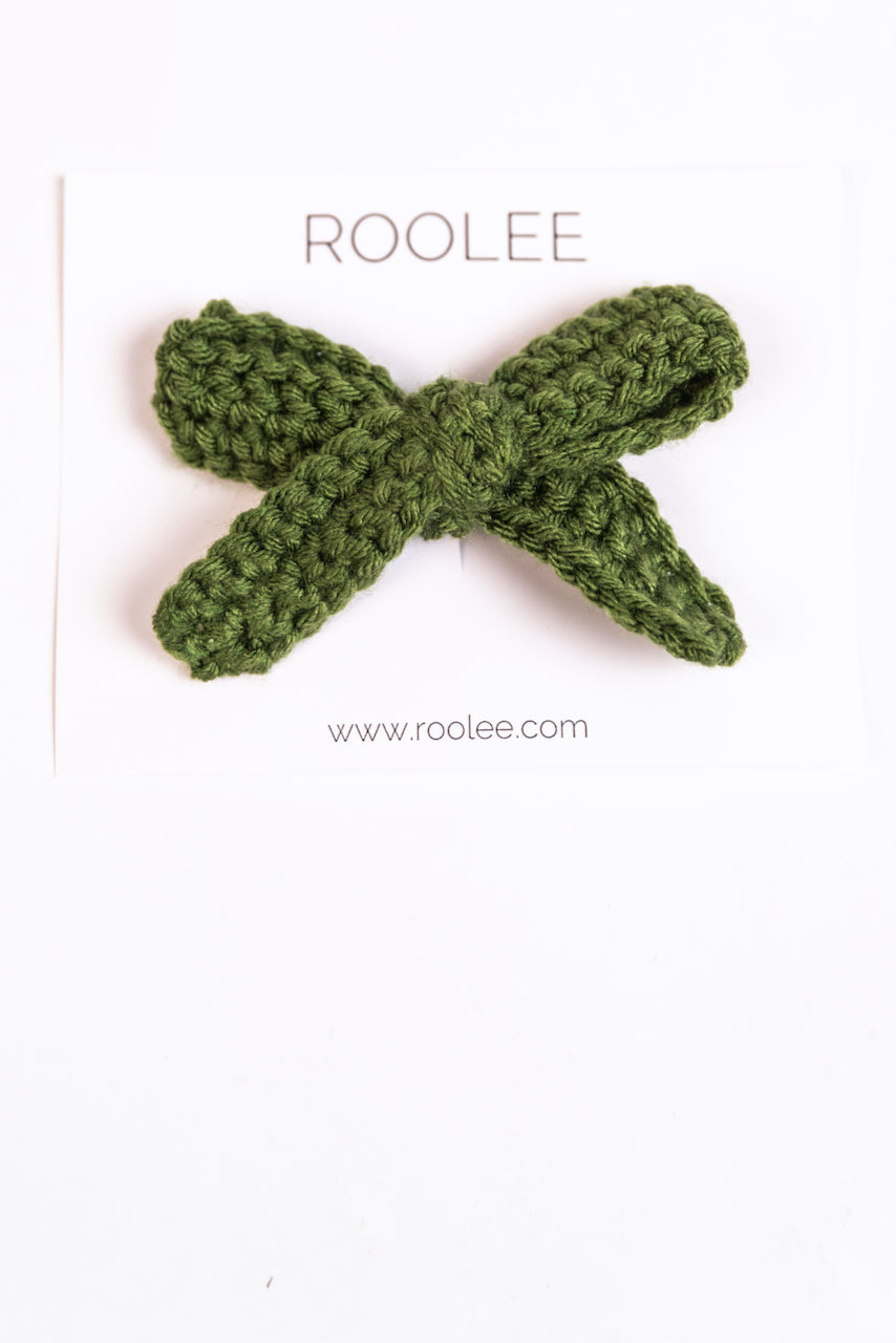 Green Crochet Hair Bow | ROOLEE