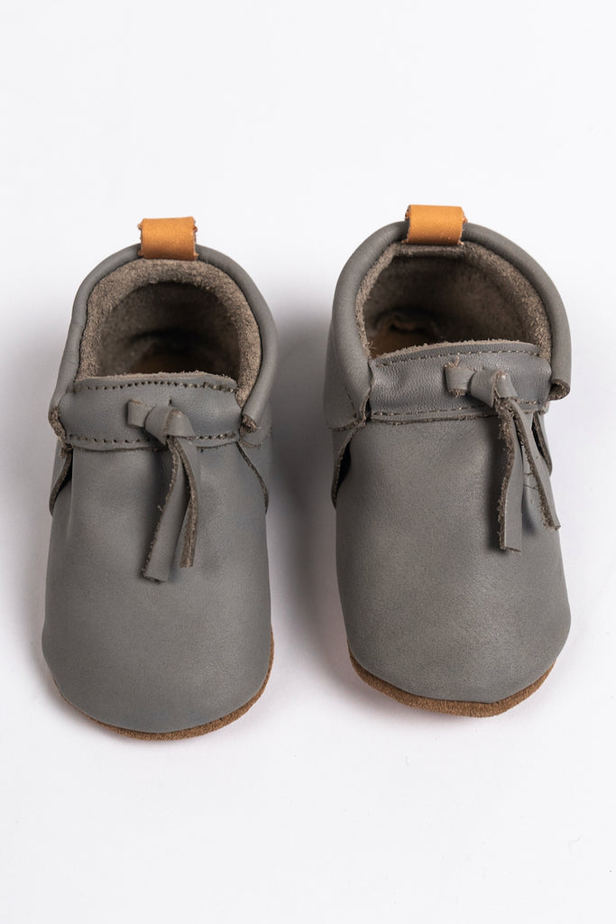Grey Natural Leather Mocs for Baby | ROOLEE