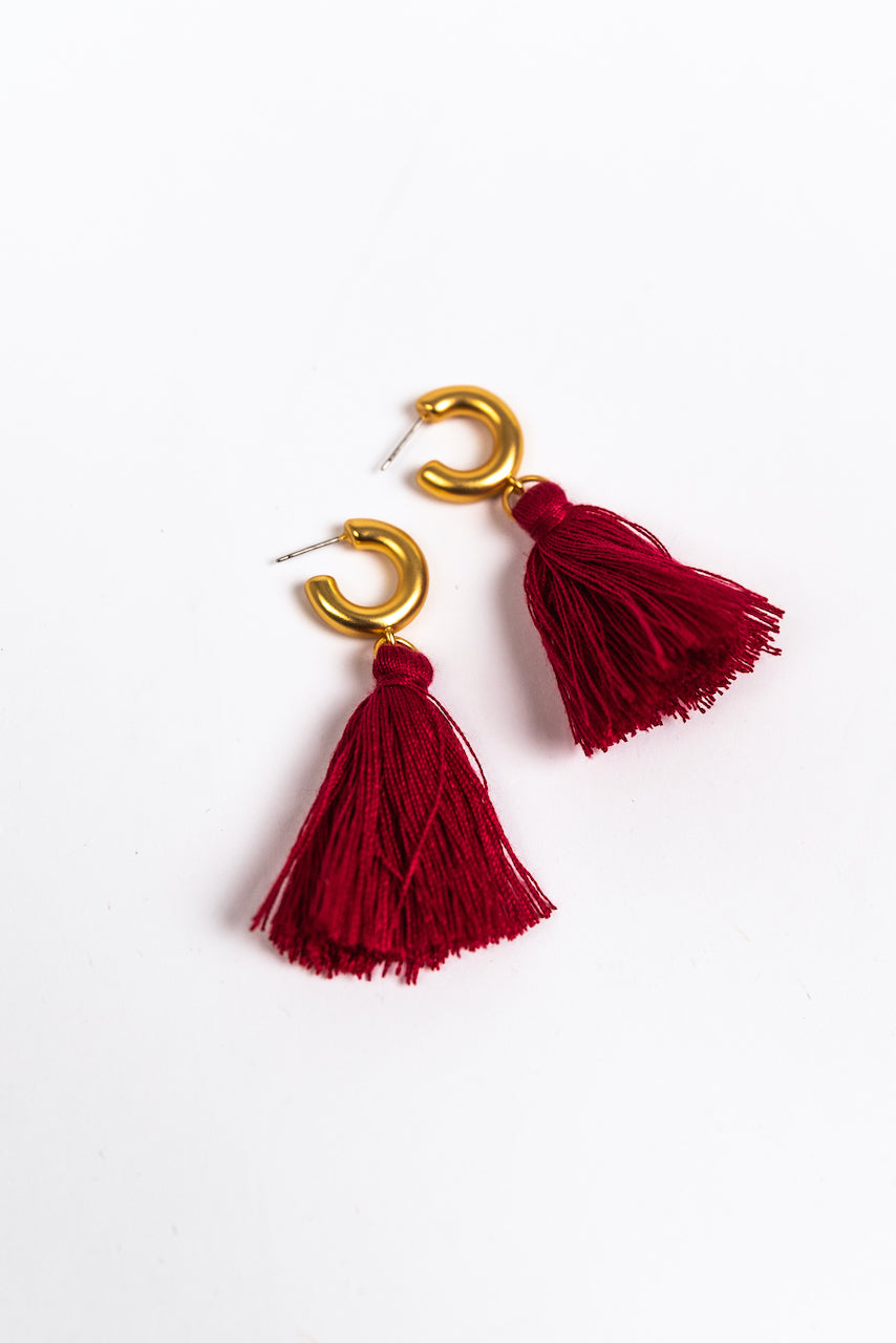 Deep Red Tassel Hoop Earrings | ROOLEE