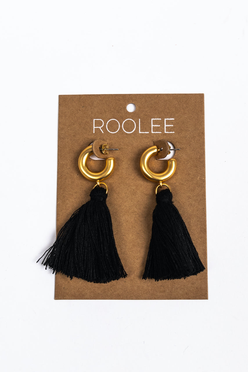 Gold and Black Hoop Earrings | ROOLEE
