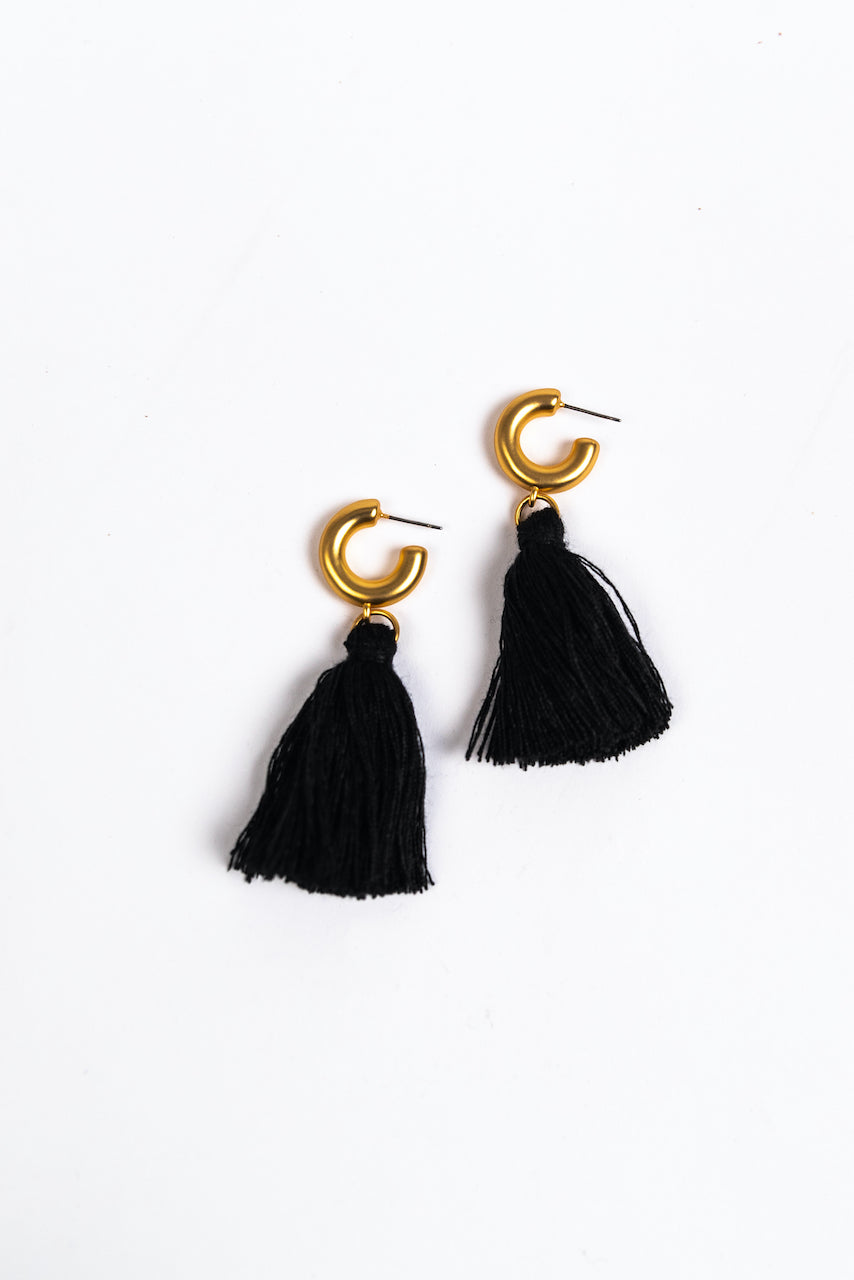 Gold Hoop Tassel Earrings | ROOLEE