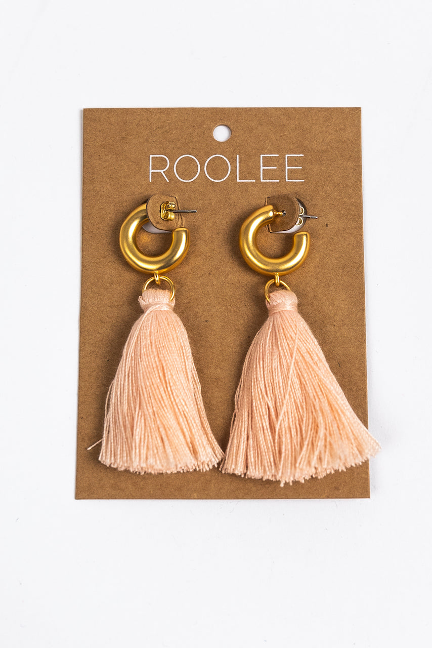 Pink Tassel Earrings | ROOLEE