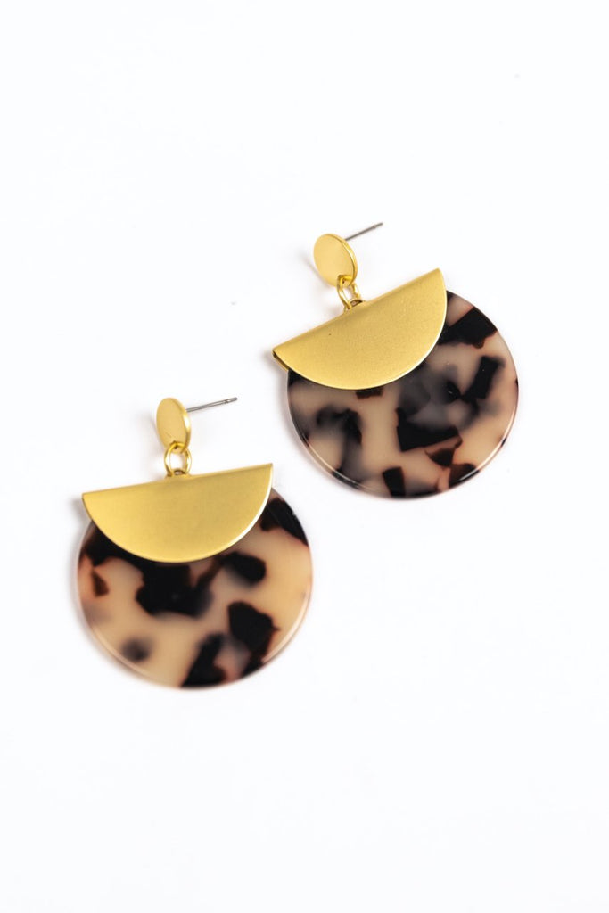 Gold Disc Cheetah Earrings | ROOLEE