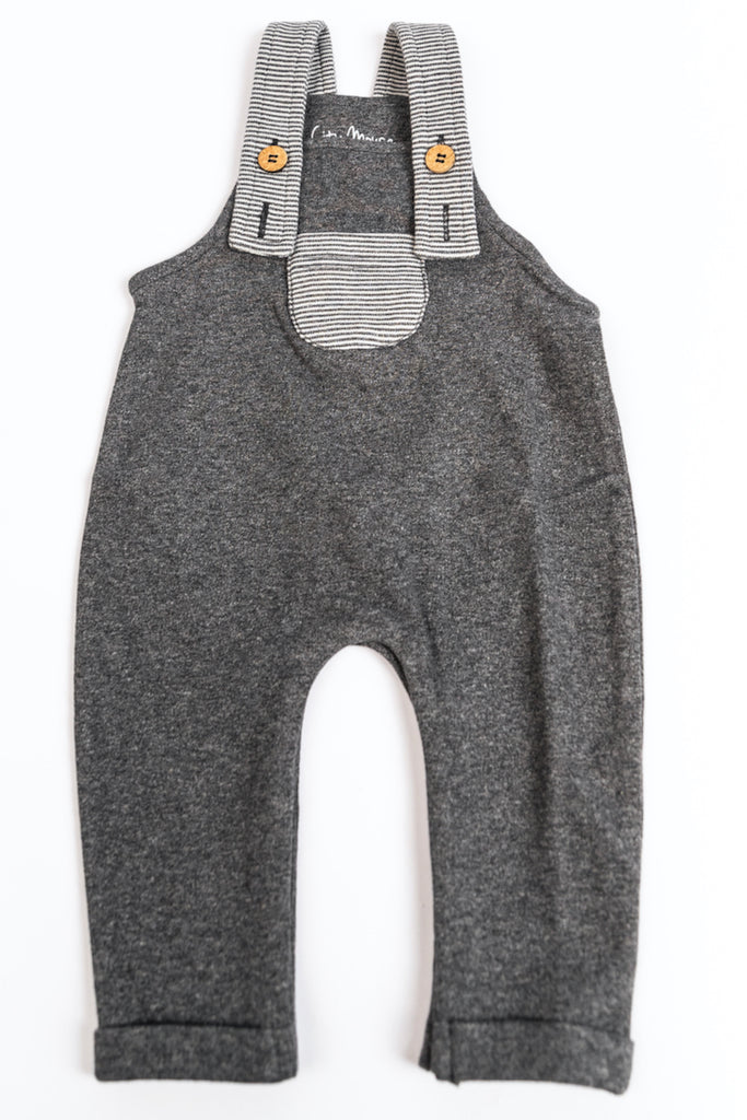 Grey and Stripe Baby Overalls for Boys | ROOLEE