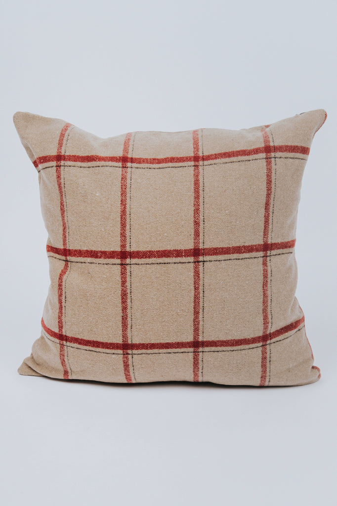 Holiday Plaid Square Pillow