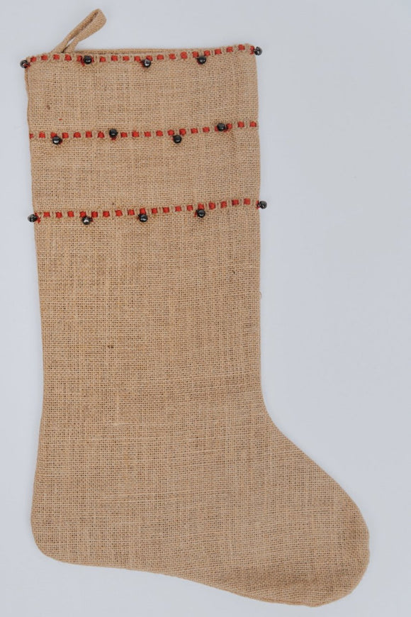Burlap Detail Christmas Stocking | ROOLEE Home