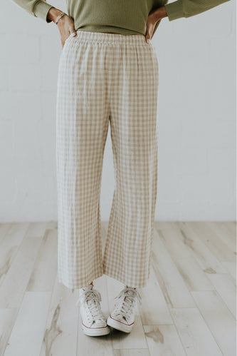 Taupe checkered trousers for spring | ROOLEE