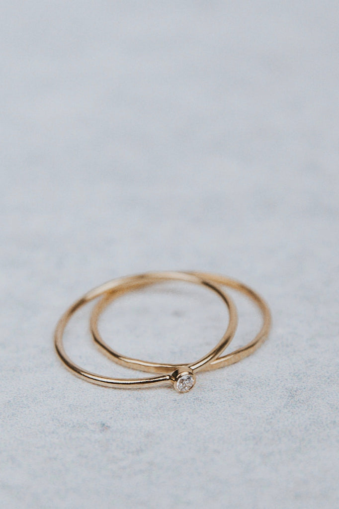 Stackable Ring with Bezel Jewel | ROOLEE