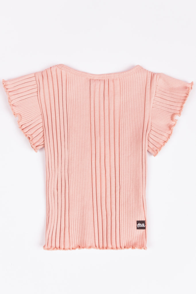 Pink ribbed tops for kids | ROOLEE