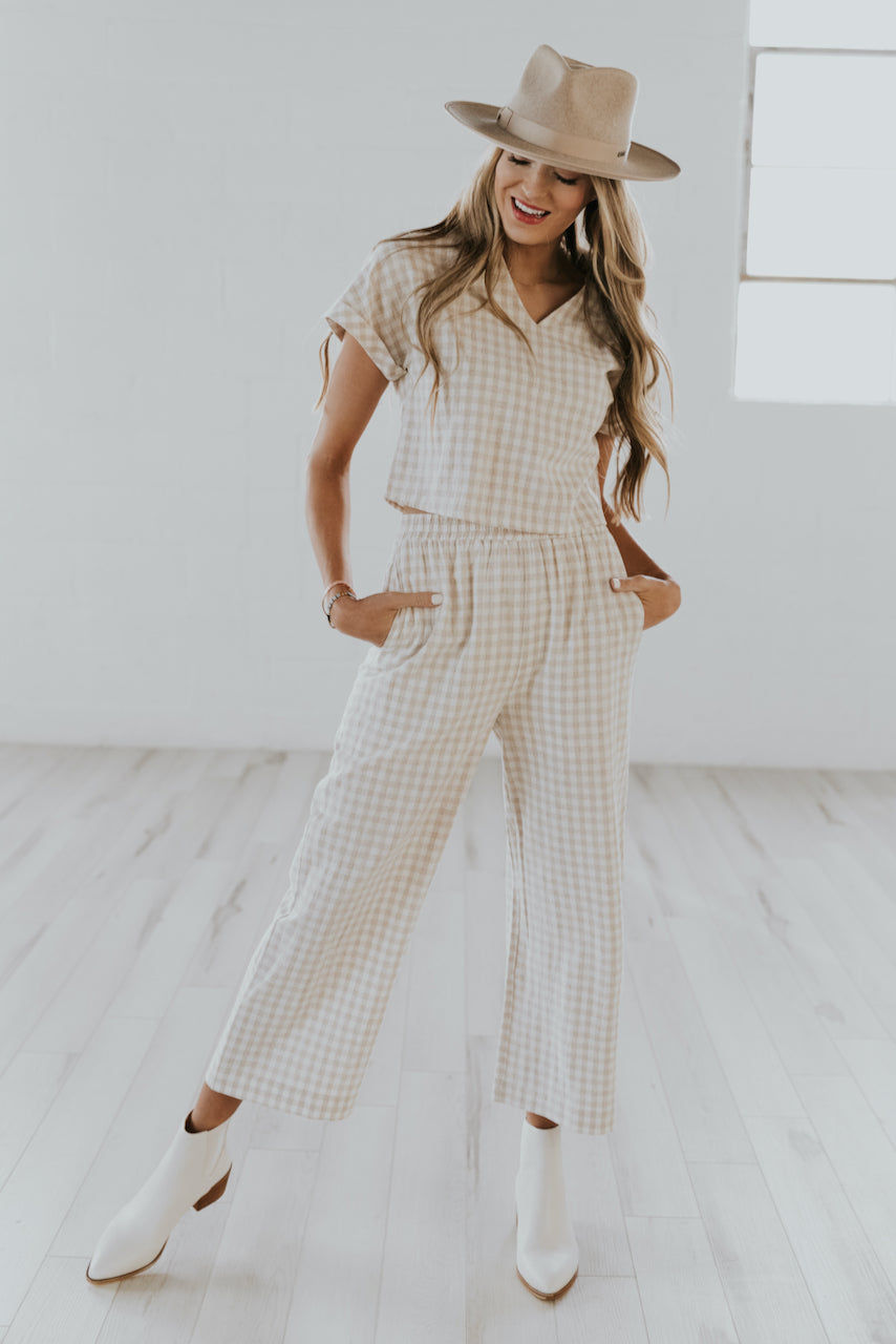 Taupe checkered v neck top | ROOLEE