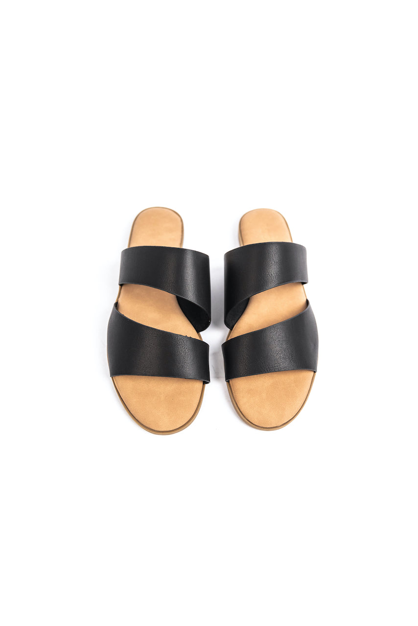 Double Strap Black Sandals | ROOLEE