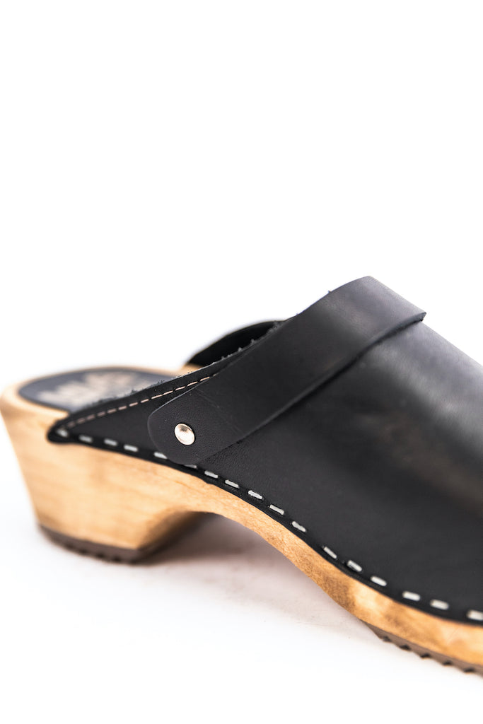 Stitched black summer clogs | ROOLEE