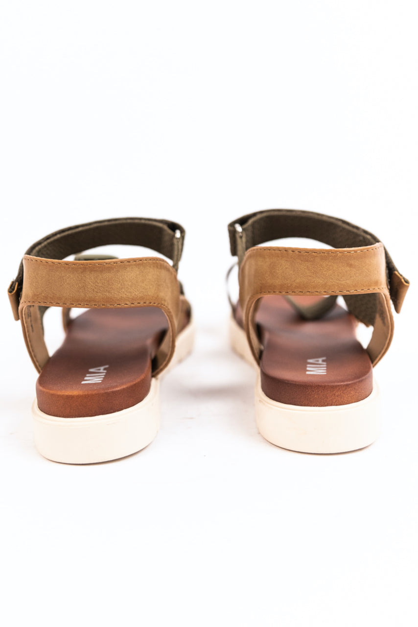 Faux Leather and Canvas Sandals | ROOLEE