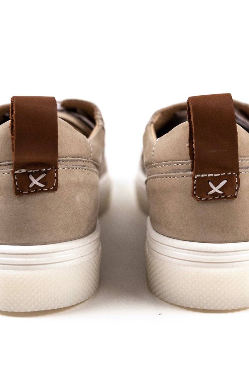 Brown tab detail sneakers for school | ROOLEE