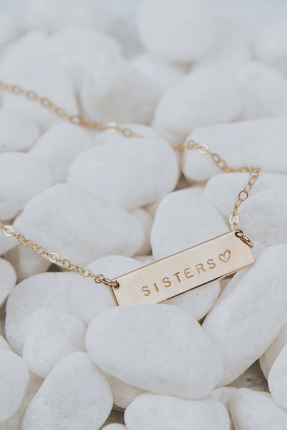 Sisters♡ Mini Bar Necklace | ROOLEE