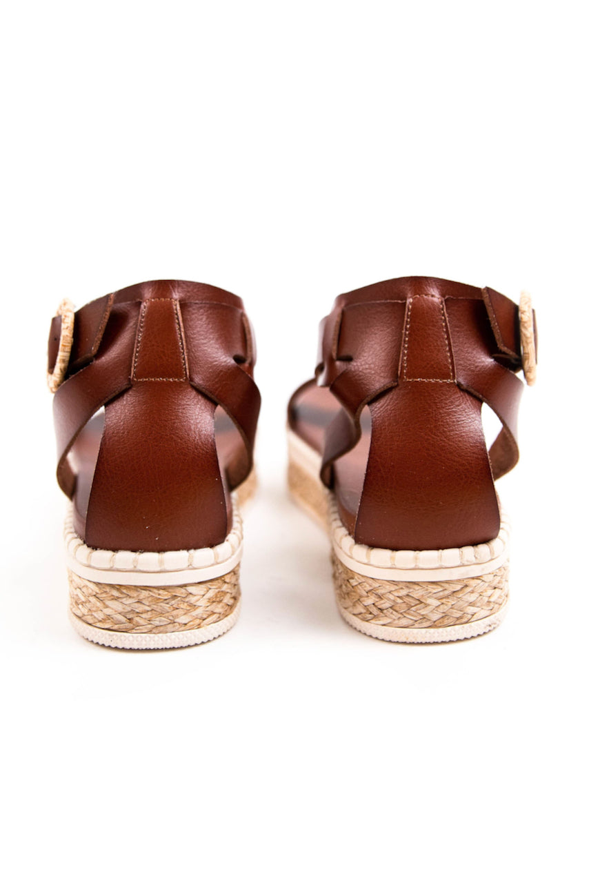 platform faux leather buckle sandals | ROOLEE