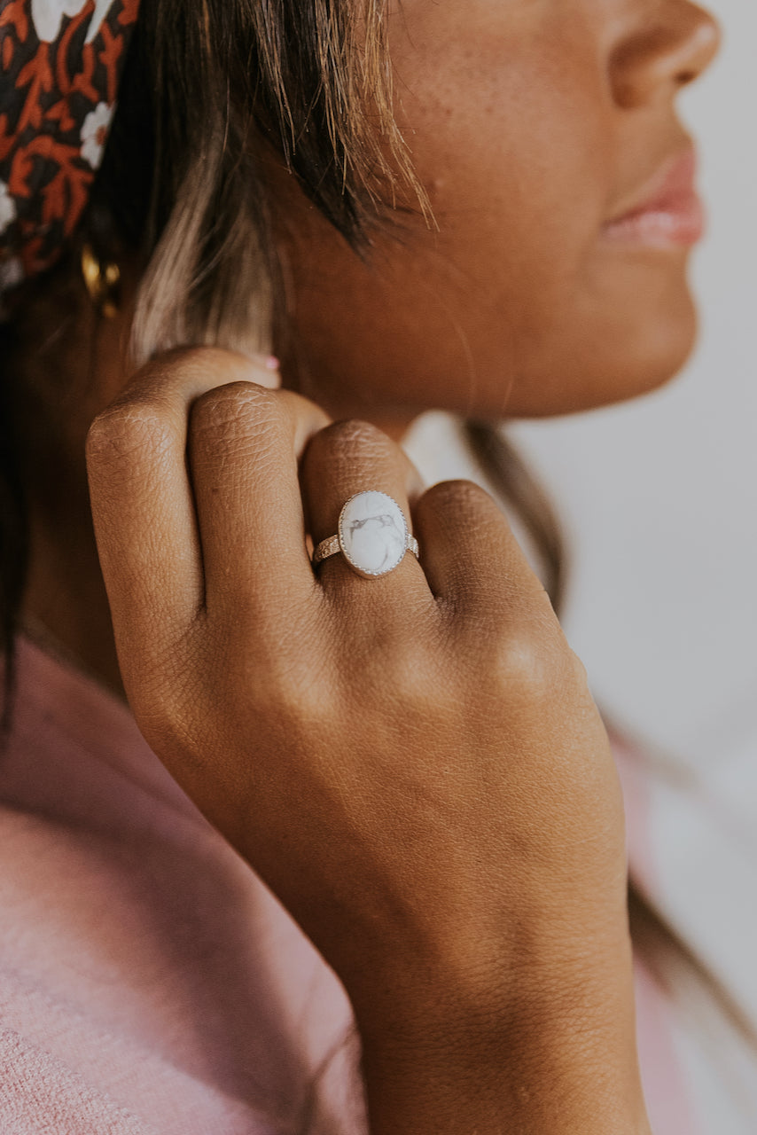 Parks White Howlite Statement Ring