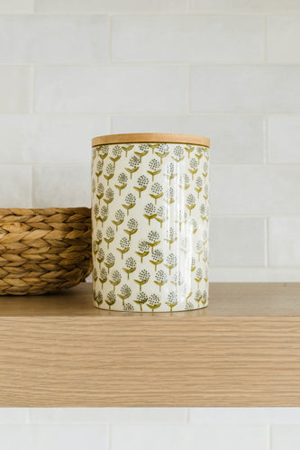 Meika Hand Stamped Tall Stoneware Canister