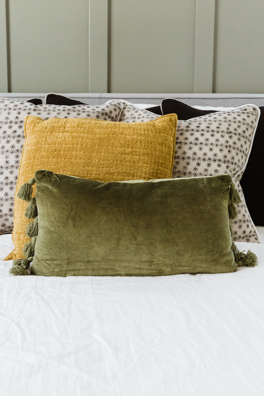 Cute Green Velvet Lumbar Pillow | ROOLEE