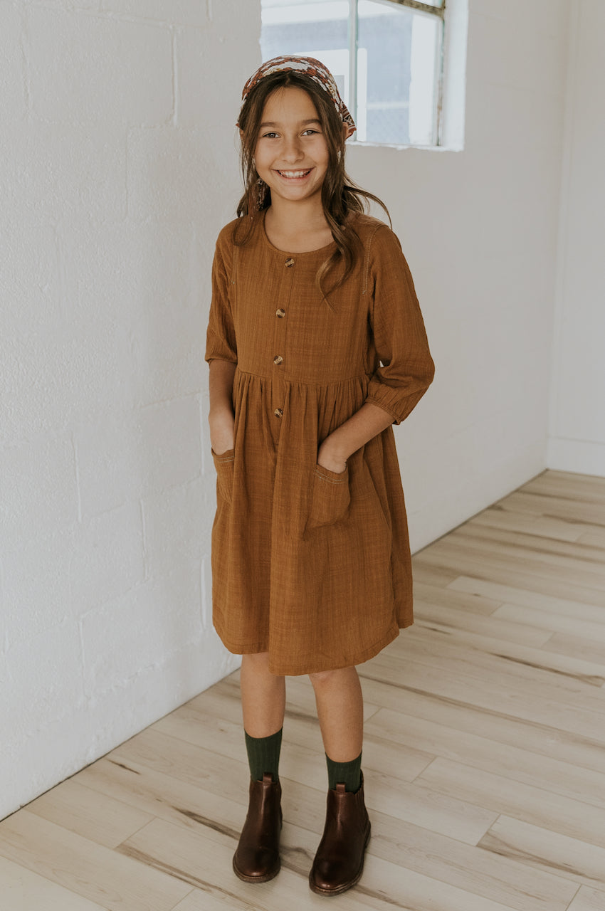 Camel Button Dress | ROOLEE