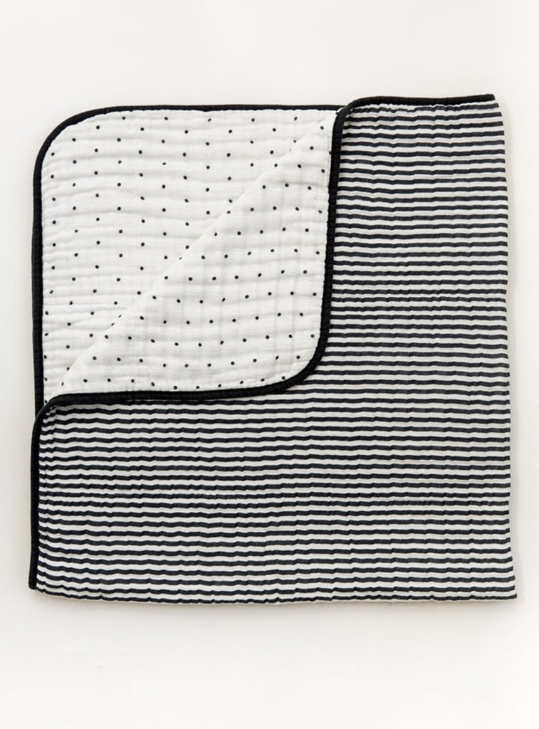 Black + White Stripe Reversible Quilt