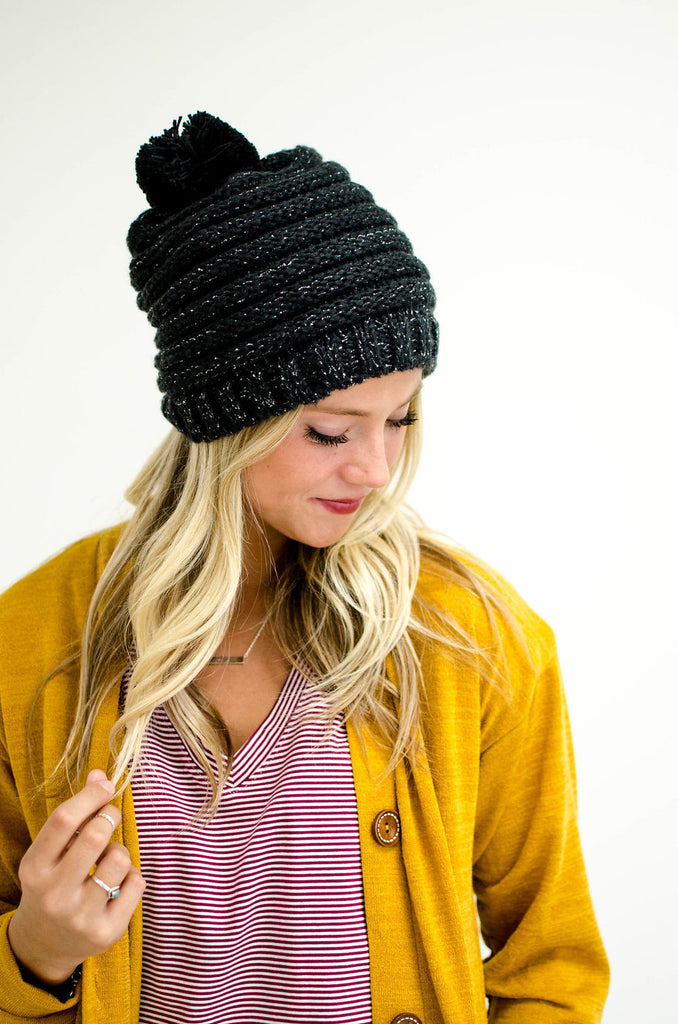 Striped Knit Hat in Charcoal