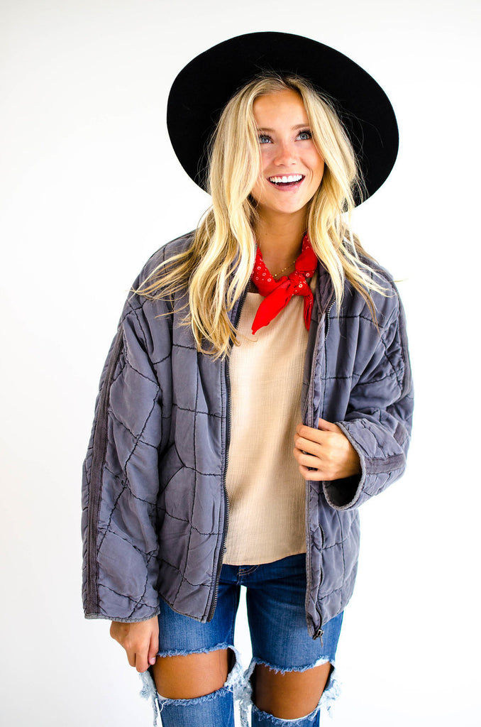 Free People Dolman Quilted Jacket in Carbon