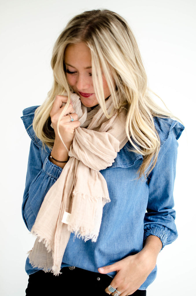 Emory Peak Plaid Scarf in Beige