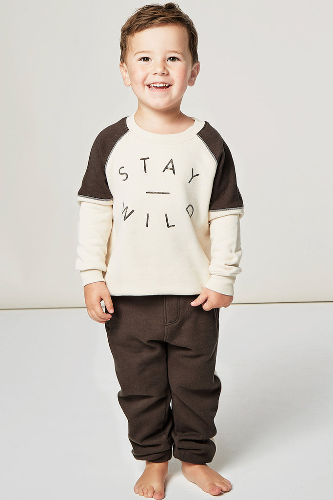 Black graphic pullover for kids | ROOLEE