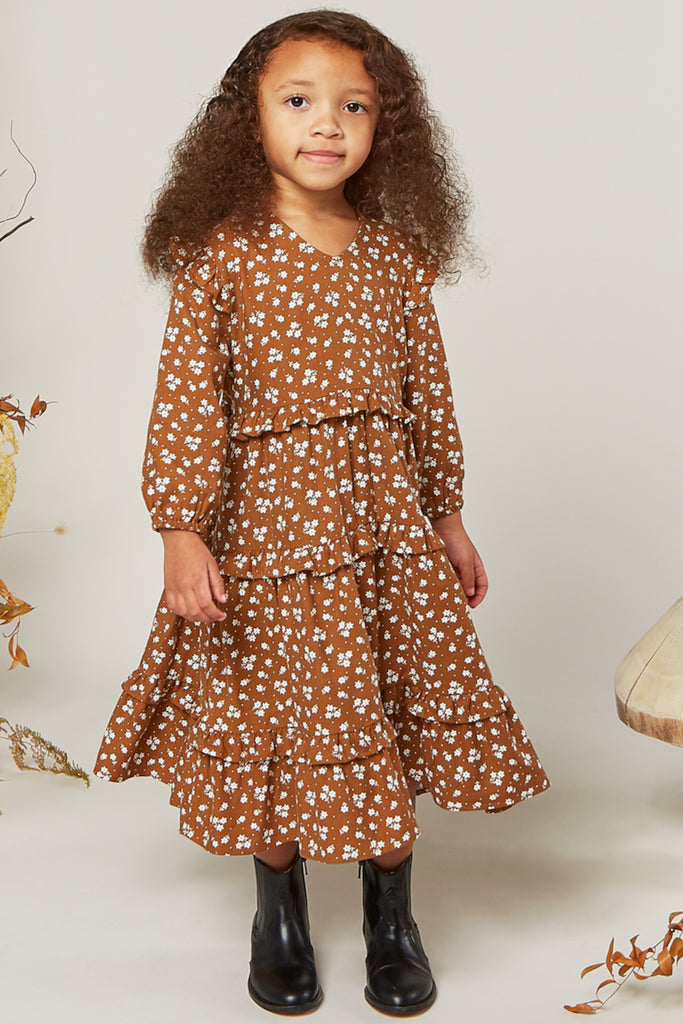Long sleeve rust floral dress | ROOLEE
