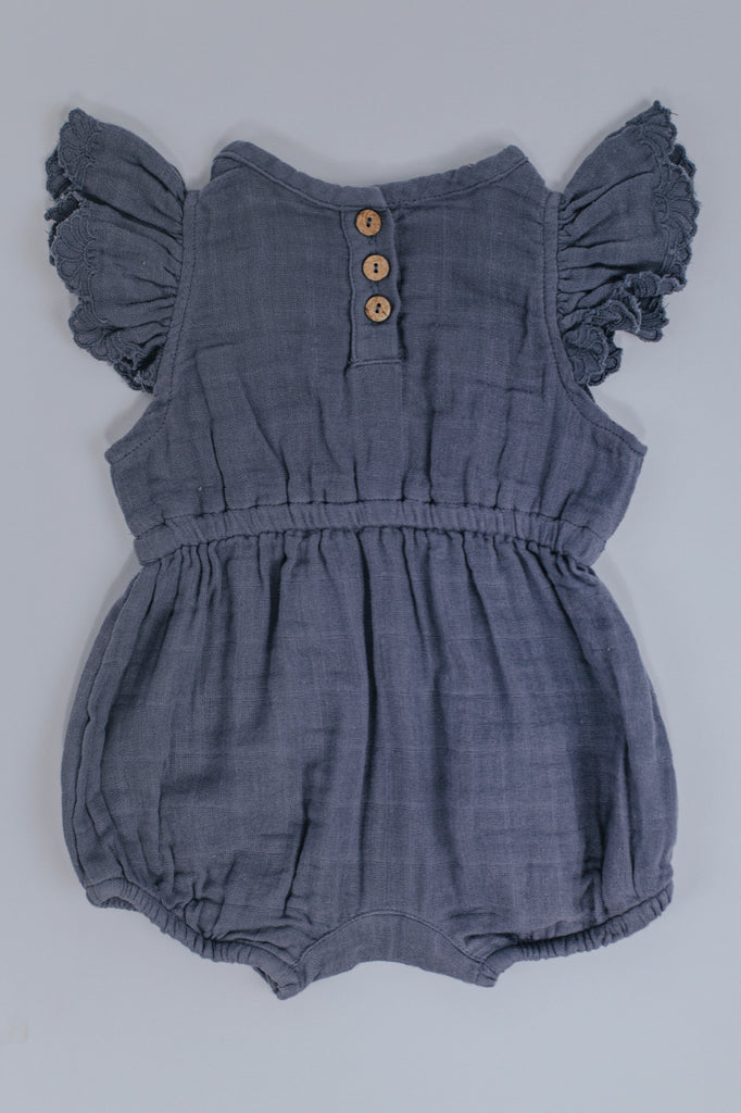 Blue Ruffle Romper Baby | ROOLEE