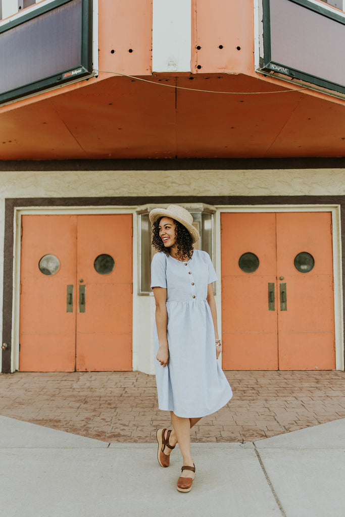 Denim + White Stripe Dress w/Button Up Front | ROOLEE