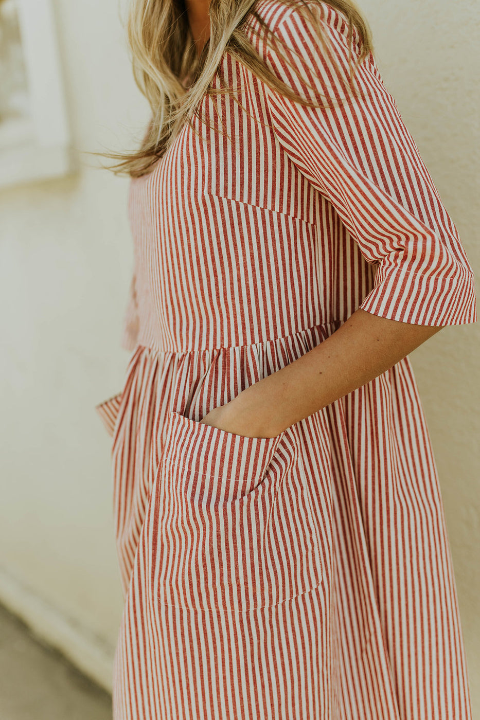 Cotton Stripe Dress w/Patch Pockets | ROOLEE