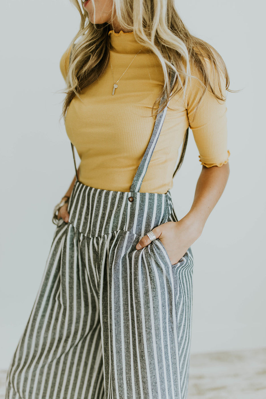 Yellow Ribbed Layering Top | ROOLEE